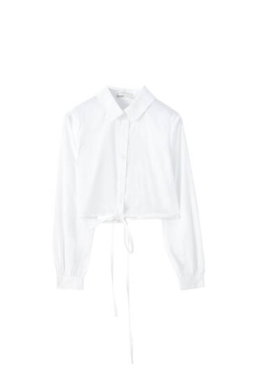 Cropped white shirt with drawstrings