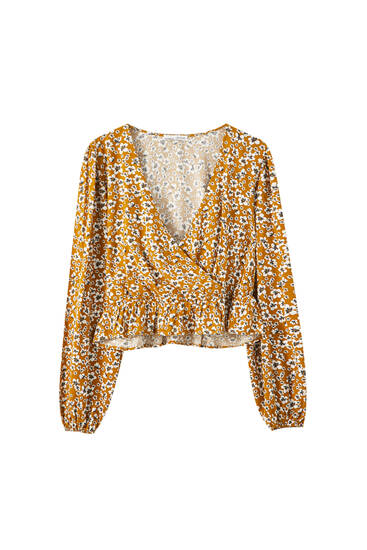 Printed blouse with square-cut neckline