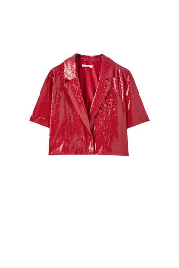 Camisa cropped lentejuelas