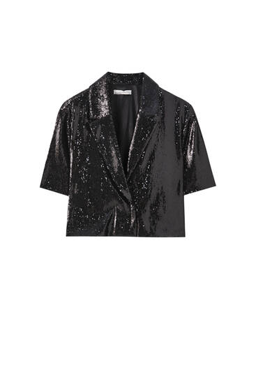 Cropped sequin shirt