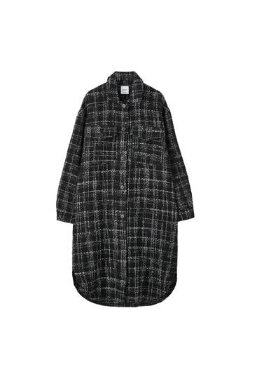 Longline check overshirt