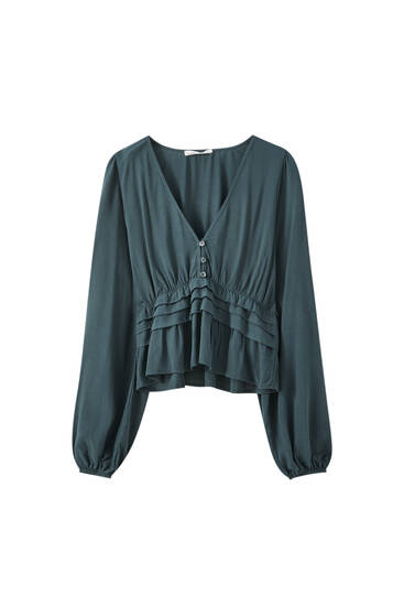 Green blouse with pleat detail