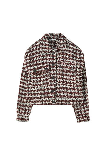 Cropped houndstooth overshirt