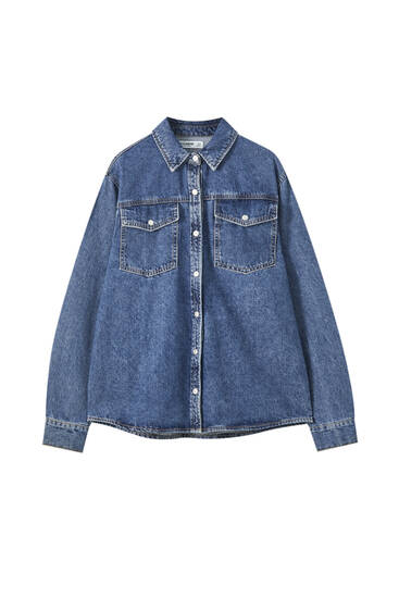 Denim overshirt with pockets