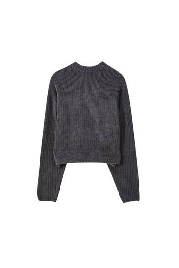 Short textured knit sweater