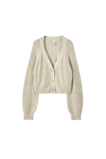 Ribbed V-neck cardigan