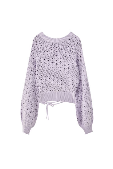 Lilac pointelle sweater with balloon sleeves