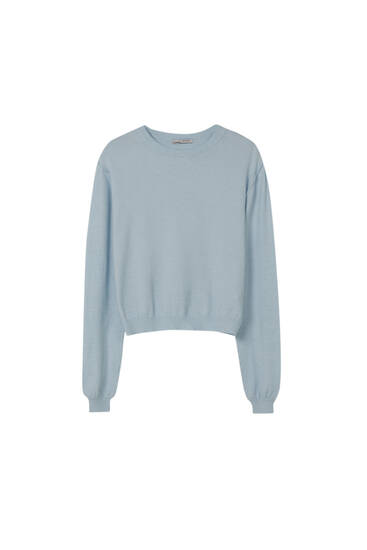 Basic knit sweater with puff sleeves