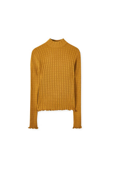 Lettuce-edge high neck sweater