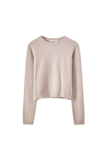 Fuzzy long sleeve sweater