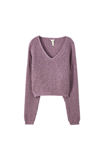 Pull court encolure en V