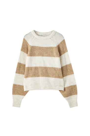 Cropped-Pullover mit Raglanärmeln