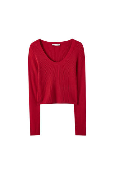 Basic ribbed cropped sweater