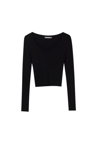 Basic ribbed cropped sweater