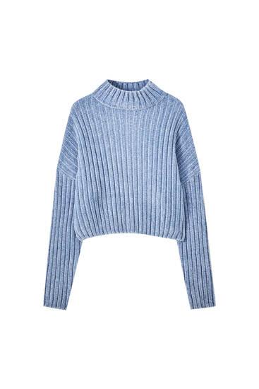 Ριμπ σενίλ πουλόβερ με ψηλό γιακά
