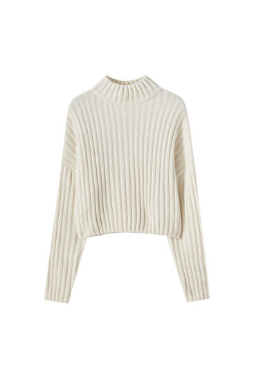 Ribbed chenille high neck sweater