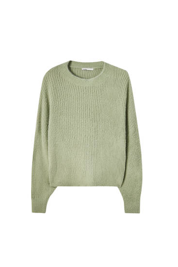 Žebrovaný svetr sumělou kožešinou