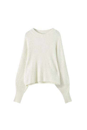 Faux fur ribbed sweater