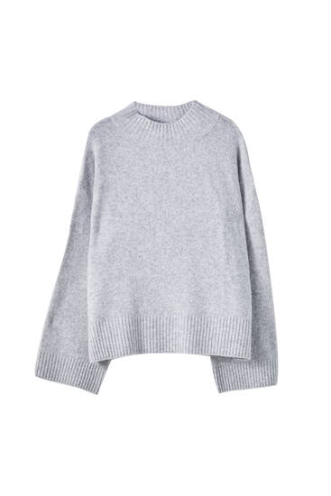 High-neck sweater with side slits