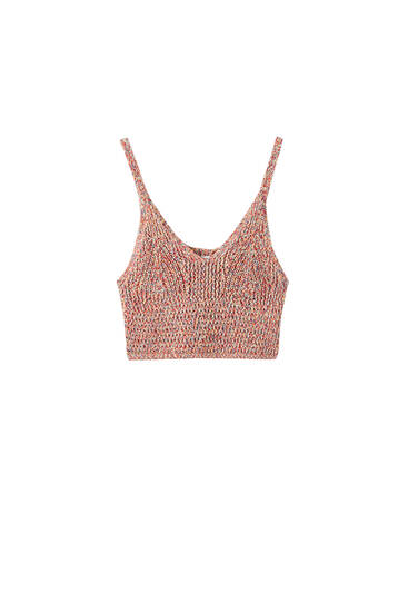 Multicoloured knit crop top
