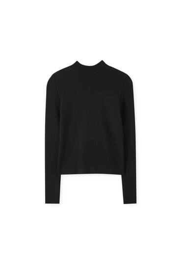 Cut-out high neck black sweater