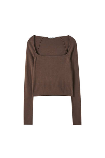 Sweater with square neckline