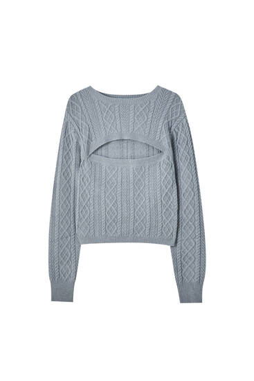 Cut-out cable-knit sweater