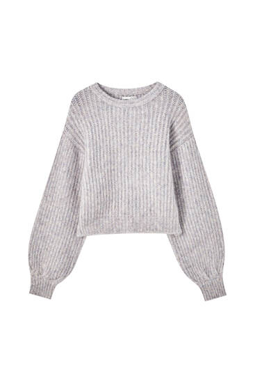 Napped cotton knit lilac sweater with voluminous detail