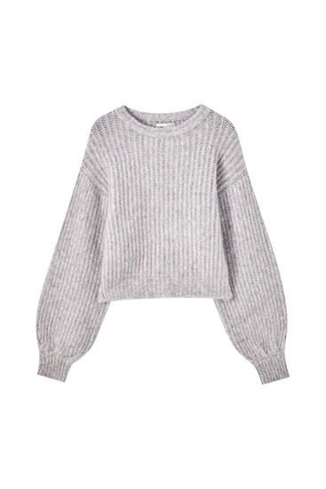 Fialový úpletový svetr zčesané bavlny sbalonovými detaily