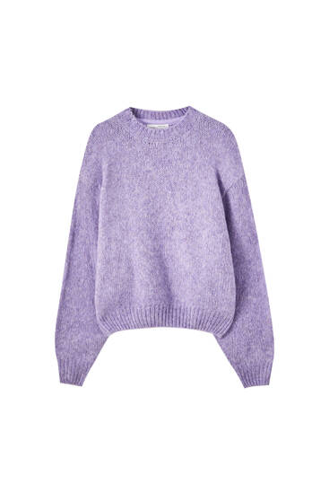 Knit sweater with a maxi shoulder pads