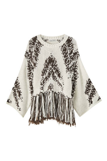 Jacquard sweater with fringing detail
