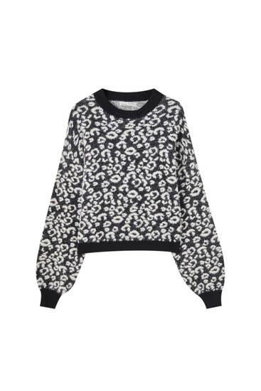 Pull maille léopard fausse fourrure
