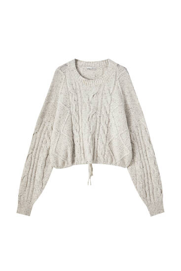Cropped cable-knit sweater with drawstring