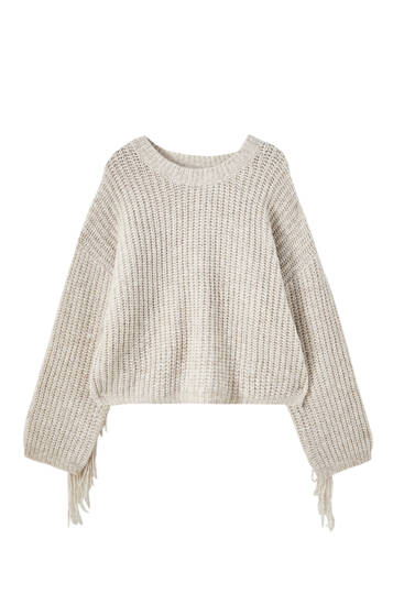 Pull maille franges dos