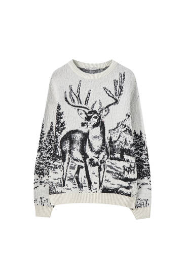 Reindeer knit tapestry sweater