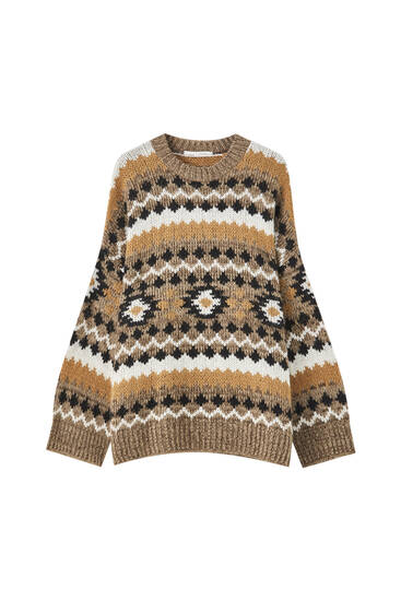 All-over ikat jacquard sweater