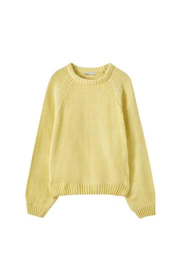 Chenille-Pullover mit Raglanärmeln