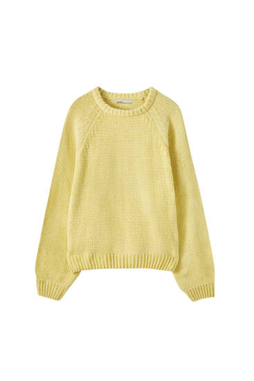 Chenille sweater with raglan sleeves