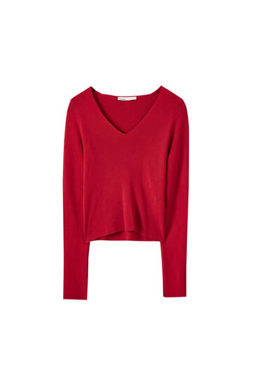 Pull rouge encolure en V