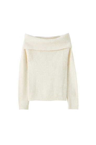 Knit sweater with a bardot neckline
