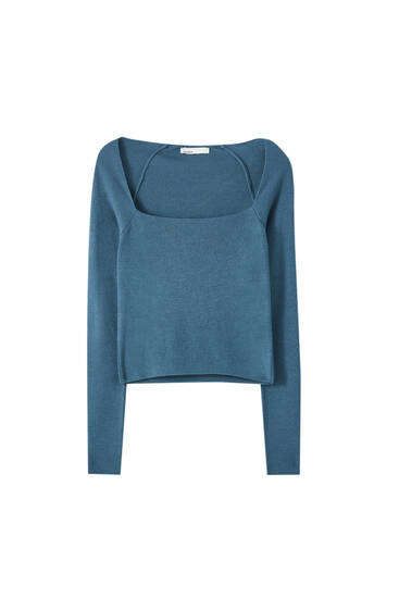 Long sleeve sweater with square neckline