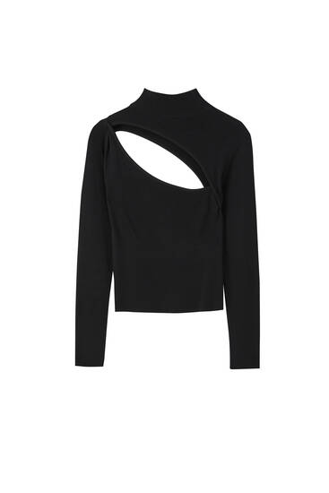 Long sleeve sweater with cut-out detail