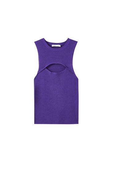 Sleeveless top with cut-out detail