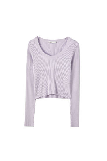 Basic ribbed round neck sweater