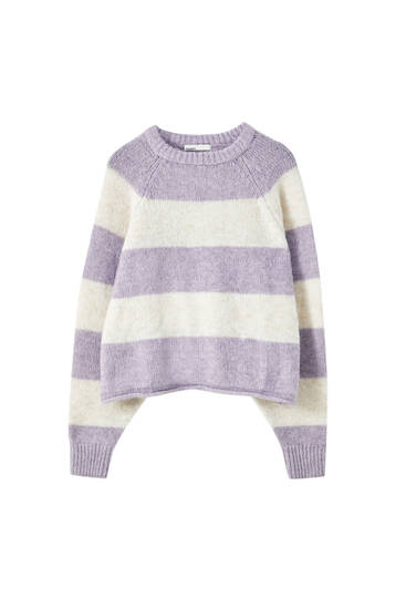 Lilac cropped sweater with raglan sleeves