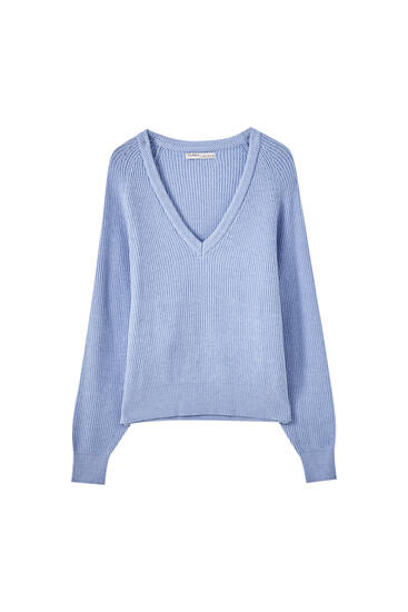 Blue herringbone knit sweater