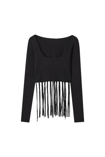 Black sweater with fringing detail