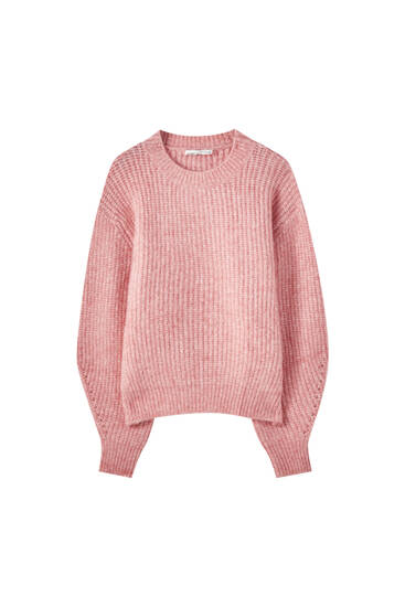 Fuchsia pointelle knit sweater