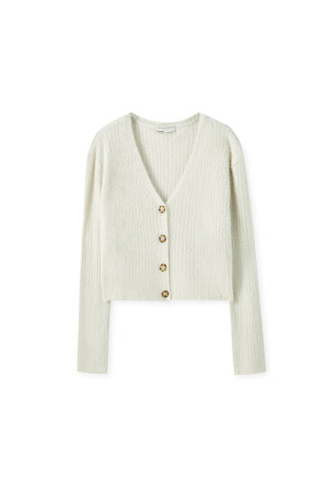 Cropped fuzzy cardigan