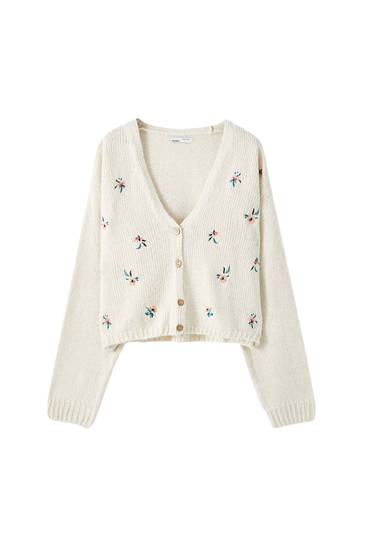 Knit cardigan with floral embroidery